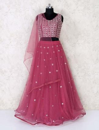Designer maroon lehenga choli in net for wedding reception