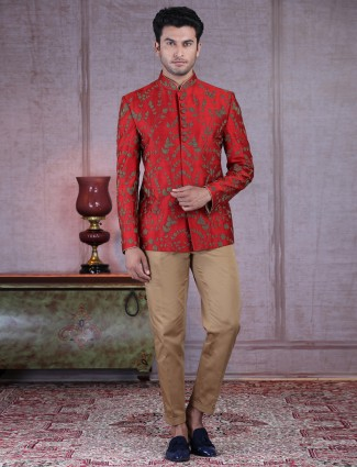 Designer maroon raw silk wedding wear jodhpuri suit