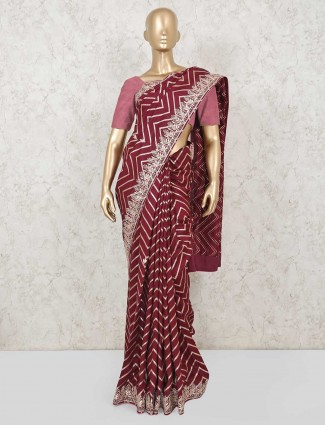Designer maroon saree for wedding in dola silk