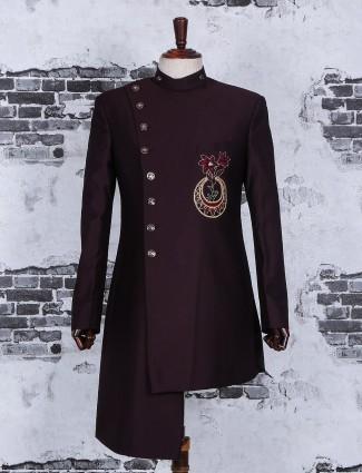 Designer maroon terry rayon indo western