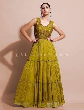 Designer mint  green floor length dress for wedding function in georgette
