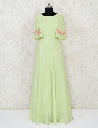 Designer mint green indo western style salwar suit in cotton silk