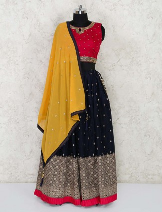 Designer navy blue and red georgette lehenga choli for festivals