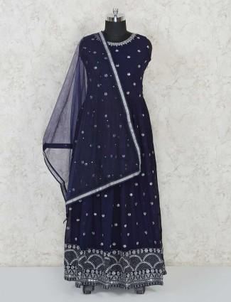 Designer navy blue georgette anarklali salwar suit for festives