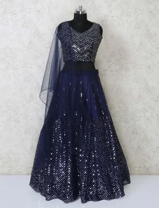 Designer navy blue net lehenga choli for party
