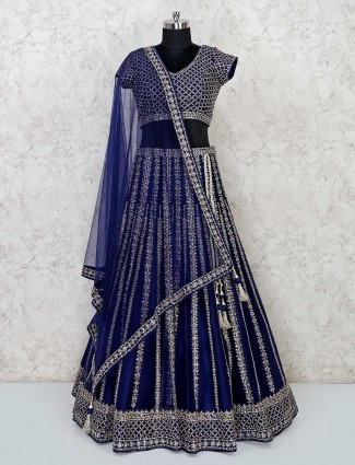 Designer navy colour wedding net lehenga choli
