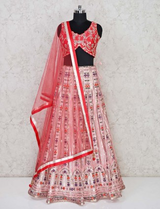 Designer net wedding wear pink lehenga choli