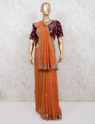 Designer orange georgette saree with readymade blouse