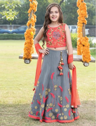 Designer peach grey net wedding lehenga choli