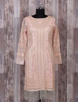 Pakistani peach net sharara style salwar suit