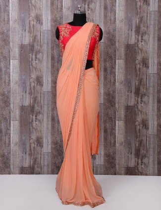 Designer peach pure net ready to wear saree