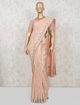 Designer peach pure silk saree for party