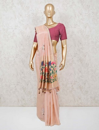 Designer peach saree in muga silk