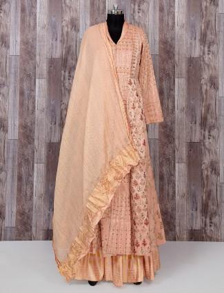 Designer peach silk indowestern style suit