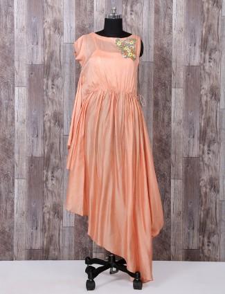 Designer peach silk salwar suit