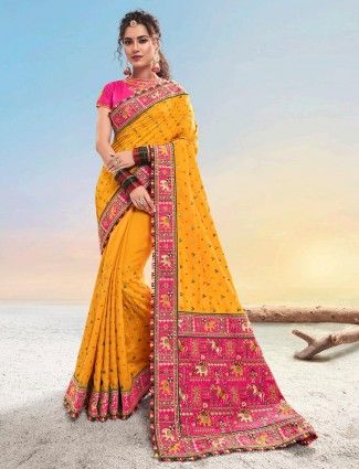 Designer pink and yellow saree for wedding in cotton silk