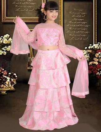 Designer pink color silk lehenga choli