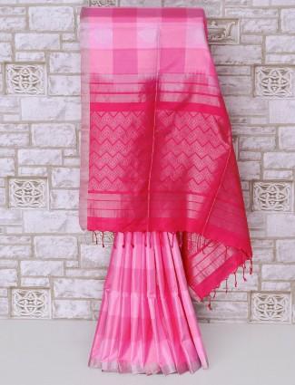 Designer pink color silk saree