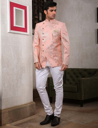 Designer pink colored jodhpuri suit for party