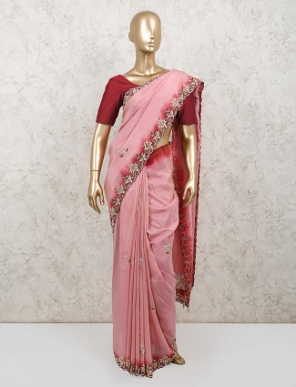 Designer pink muga silk for partry with contrast blouse
