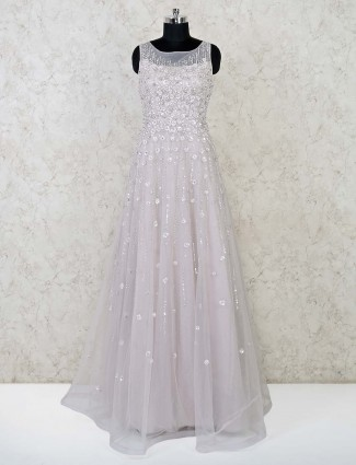 Designer pink net wedding function gown