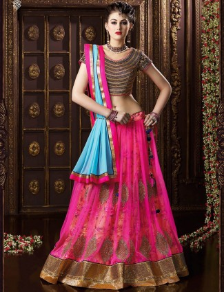 Designer magenta net wedding wear semi stitch lehenga choli