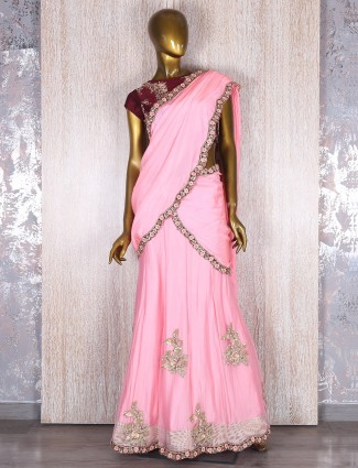 Designer Pink party wear ready to wear saree
