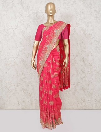 Designer pink pure silk wedding saree