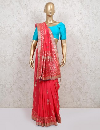 Designer pink saree in dola silk for reception