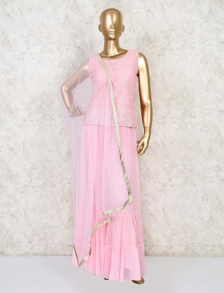 Designer pink short top with sharara in georgette for wedding