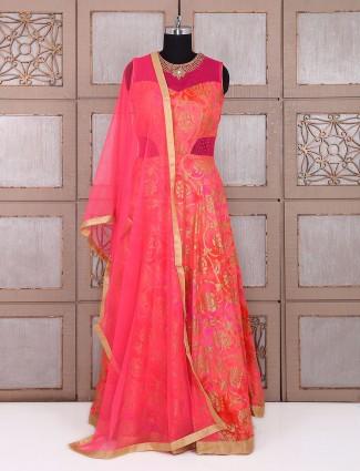 Designer pink silk long anarkali suit