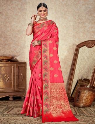 Designer pink soft silk saree for festive