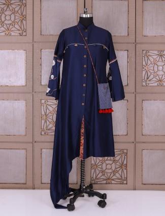Designer plain navy silk kurti