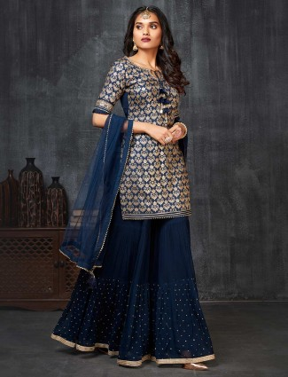 Designer punjabi style navy raw silk salwar suit for festive season
