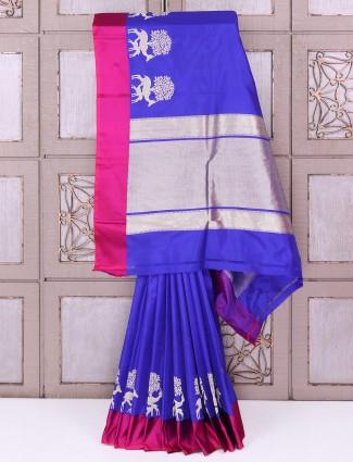 Designer purple color silk fabric saree