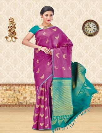 Designer purple kanchipuram silk saree