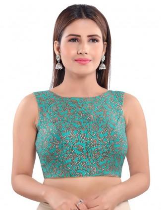 Designer rama green raw silk readymade blouse