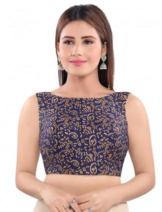 Designer readymade navy blue blouse in raw silk