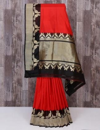 Designer red and black color saree