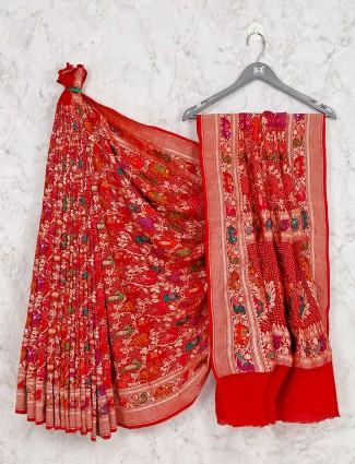 Designer red bandhej saree for wedding