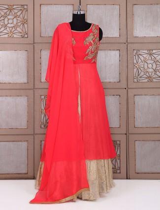 Designer red beige georgette salwar suit