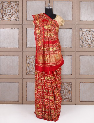 Designer red bridal wear saree