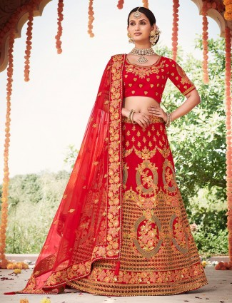 Designer red bridal wedding semi stitched lehenga choli