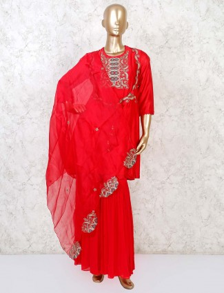 Designer red cotton silk punjabi sharara suit