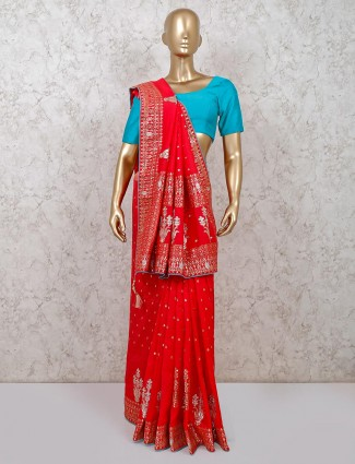 Designer red dola silk saree for festive