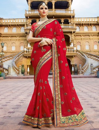 Designer red georgette saree