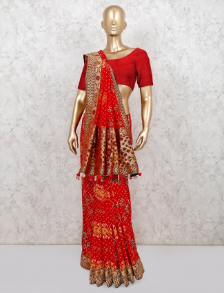 Designer red patola silk wedding wear saree