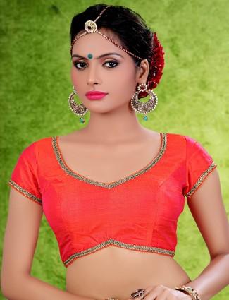 Designer red raw silk saree blouse