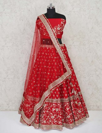 Designer red semi stitched silk lehenga for bride