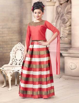 Designer red silk party wear lehenga choli